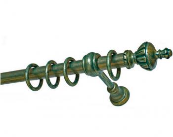 Деревянный карниз Винтаж (темно-зеленый/золото)